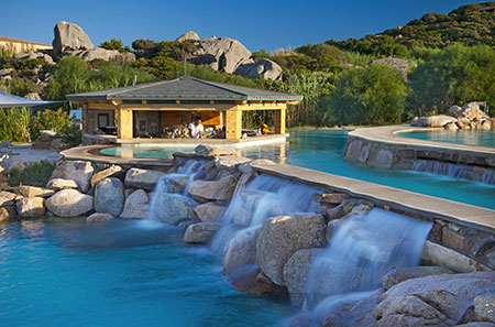 Resort Valle dell'Erica, Thalasso swimming pool bar and waterfall. Sardinia