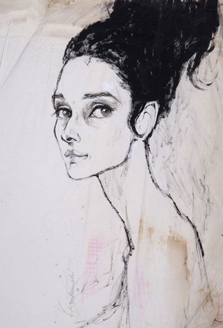 Barbara Hulanicki (1936 - ) Original Fashion Sketch Audrey Hepburn II C1960's, Watercolour on Paper, signed 55 x 42 cms £2,000