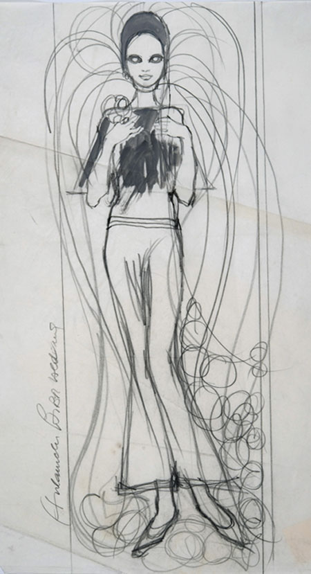 Barbara Hulanicki (1936 - ) Original Fashion Sketch BIBA - Wedding Dress I C1968, Watercolour on Paper, signed & inscribed 56 x 43 cms £2,500