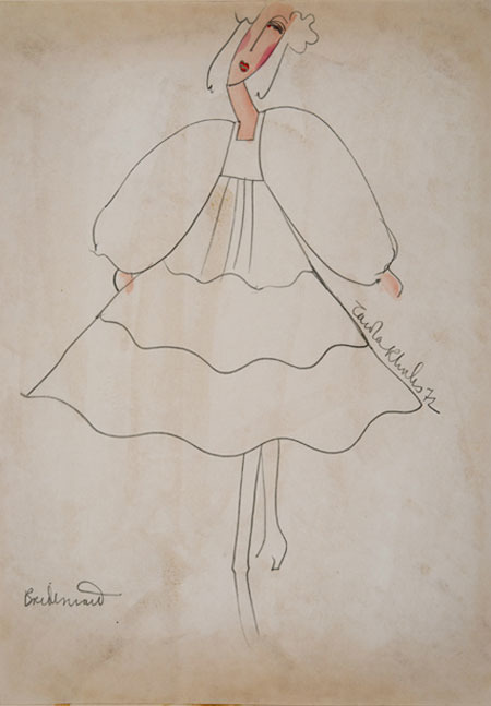 Zandra Rhodes (1940 - ) Original Wedding Dress Design 1972, Zandra Rhodes I Pencil & Watercolour, signed & inscribed 30 x 21 cms £750
