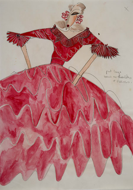 Zandra Rhodes (1940 - ) Original Wedding Dress Design Zandra Rhodes II C1972, Pencil & Watercolour, signed & inscribed 30 x 21 cms £750