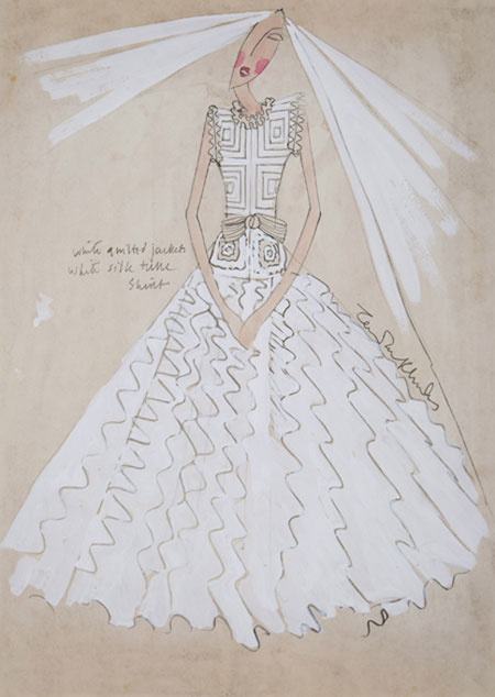 Zandra Rhodes (1940 - ) Original Wedding Dress Design Zandra Rhodes III C1972, Pencil & Watercolour, signed & inscribed 30 x 21 cms £750