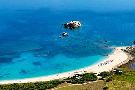 Resort Valle dell'Erica, aerial shot of beach. Sardinia