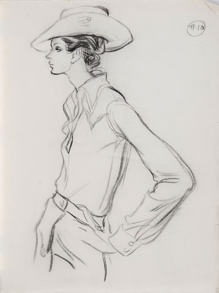 Brian Stonehouse M.B.E. (1918 - 1998) Original Working Fashion Illustration for US Magazine Cow Girl C1970's, Charcoal, signed & inscribed 64 x 46 cms £2,500