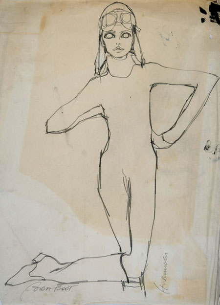 Barbara Hulanicki (1936 - ) Original Fashion Sketch BIBA - Boots C1970, Watercolour on Paper, signed & inscribed 56 x 42 cms £2,500