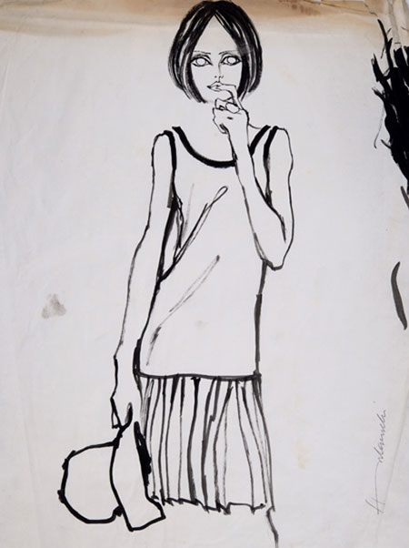 Barbara Hulanicki (1936 - ) Original Fashion Sketch Pleated Skirt & Top C1960's, Watercolour on Paper, signed 56 x 42 cms £2,000