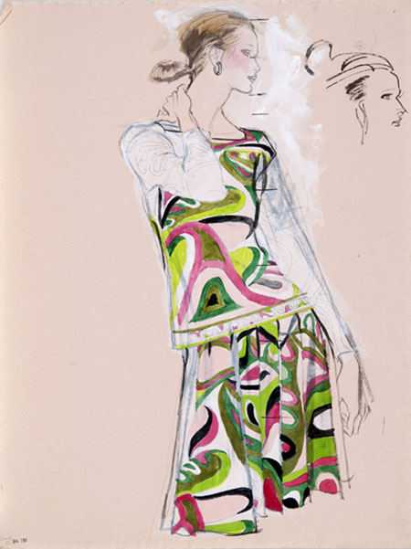 Brian Stonehouse M.B.E. (1918 - 1998) Original Working Fashion Illustration for US Magazine Pucci C1970's, Mixed Media, signed 68 x 48 cms £2,500
