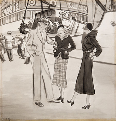 Carl Erickson (Eric) (1891 - 1958) Awaiting To Embark Original Project for American Vogue C1940's, Ink & Wash, signed 35.5 x 34.5 cms £4,000