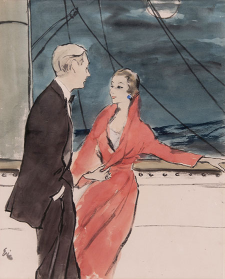 Carl Erickson (1891- 1958) Original Advertising Illustration commissioned for Black Magic Chocolates Evening Scene on a Liners Deck C1956, Watercolour, Pencil & Wash, signed 49 x 40 cms £5,000