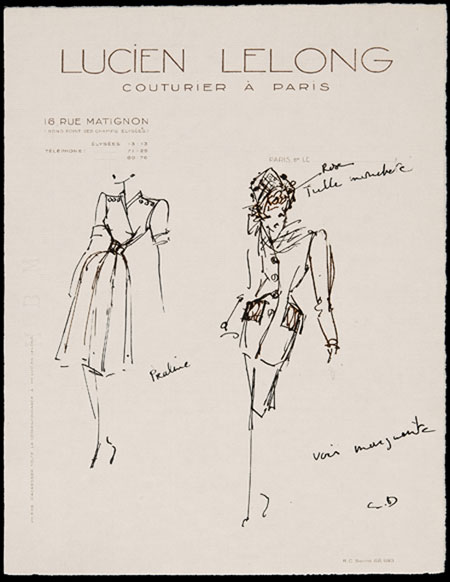 Christian Dior (1905 - 1957) Original Fashion Drawing 'Praline' 1944, Initialed & Inscribed CD Pen & Ink on Cream Lucien Lelong Headed Paper 28 x 22 cms £5,500