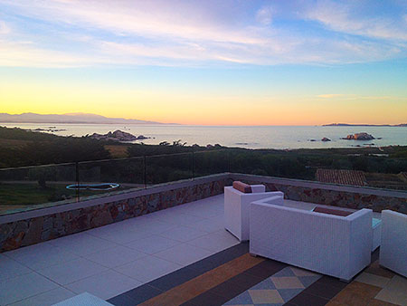 Sunset on terrace, Resort Valle dell'Erica. Sardinia
