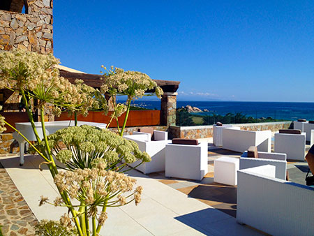 Morning, terrace Resort Valle dell'Erica. Sardinia