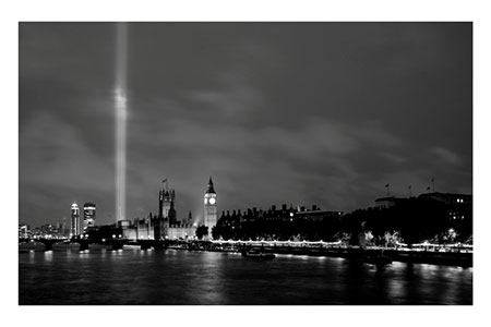 spectra lights out 100 years WW1Parliament b-w