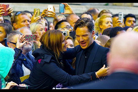 GQ Awards 2014 Royal Opera House Benedict Cumberbatch with attentive fan
