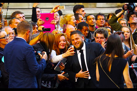 GQ Awards 2014 Royal Opera House Jonah Hill and fans