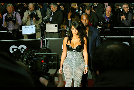 GQ Awards 2014 Royal Opera House Kim Kardashian closely shadowed by Kanye West