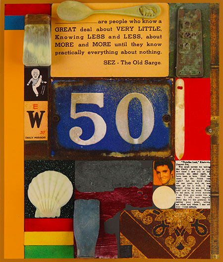 Sir Peter Blake, 3D Wooden Puzzle Series 50, 2014, silkscreen print with glitter, embossing, glazes and 3D printed collaged elements mounted on wood, edition of 25, 416 x 492 mm. Courtesy of CCA Galleries